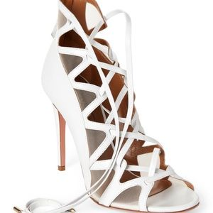 AQUAZZURA white French lover leather laceup sandal